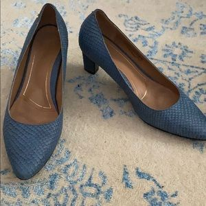 Vionic Madison Mia Blue Leather Heel Shoes